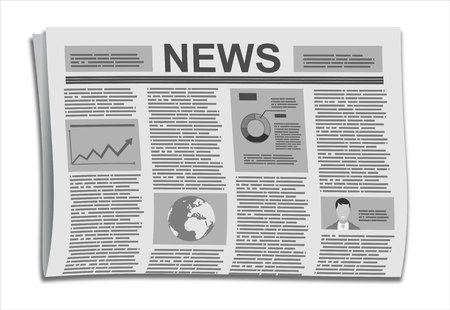 reportage: Folded Newspaper News with Articles and Graph, isolated on white background, vector. Flat design style.