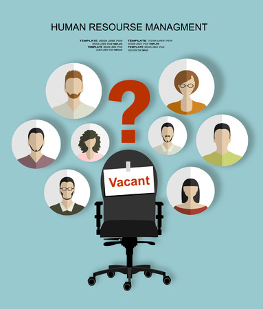 skill: Human resources recruiting planning job business concept with office chair abstract flat vector illustration