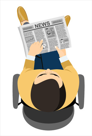 broadsheet: Business man reader Newspapers. Flat design style.
