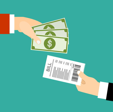 paying bills: Paying bills, hand giving receipt bill and another hand giving cash money,