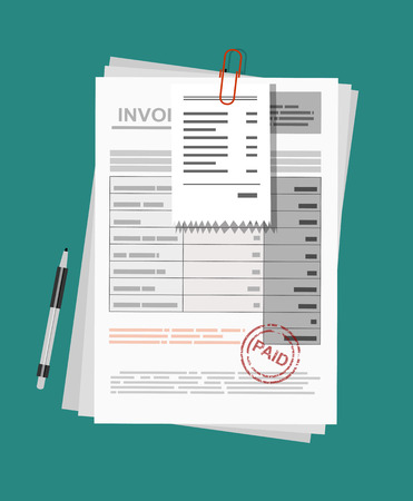 Invoice sheet, bill and pen. Flat style illustration, invoice payment concept Çizim