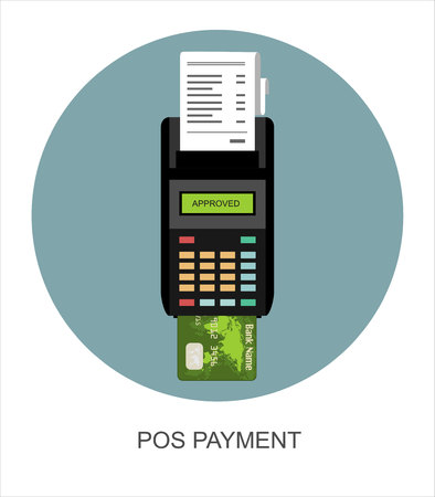 cashless: Pos payment. Illustration pos machine or credit card terminal. Concept of cashless payment and credit card payment. Flat style.