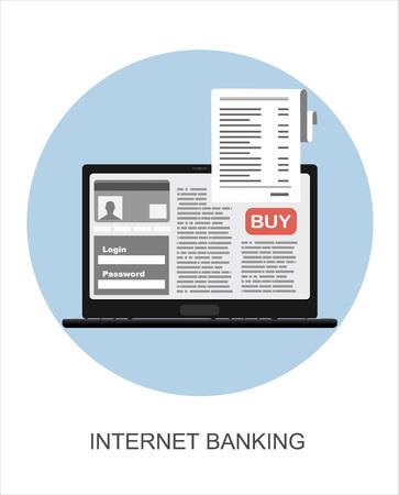 pay bills: Pay bills tax online receipt via laptop. Flat design illustration concepts.