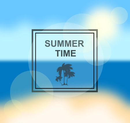 cover background time: Summer time background with palm and frame. Vector background for banner, poster, flyer, card, postcard, cover, brochure.
