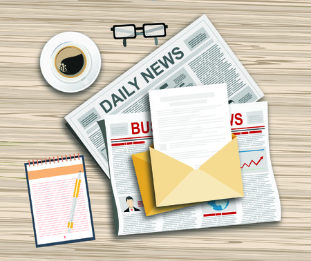 news letter: Newspaper with a cup of coffee, letter and glasses on the table. Morning News and breakfast. Illustration