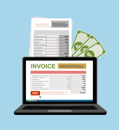 In linea portatile digitale della fattura o notebook con le fatture, il denaro, piatta design illustrazione