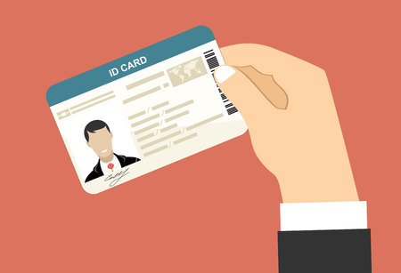 restrictive: Men hand hold ID Card. Flat design style.