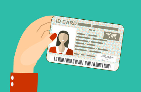 ide: Women hand hold ID Card. Flat design style.