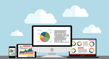 Flat design modern vector illustration concept of website analytics search information and computing data analysis using modern electronic and mobile devices.