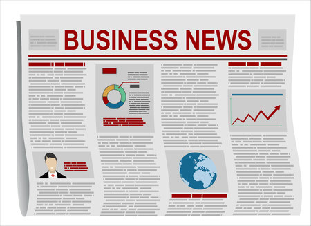 folded newspaper: Folded Newspaper Business News with Articles and Graph, isolated on white background, vector. Flat design style.