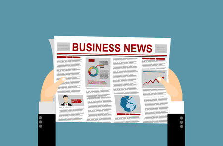 articles: Folded Newspaper Business News with Articles and Graph, isolated on white background, vector. Flat design style.