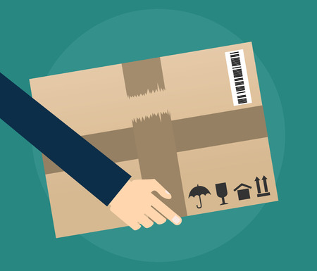 carrying box: Delivery concept. Hand carrying a cardboard box. delivery concept. vector illustration in flat design on green background