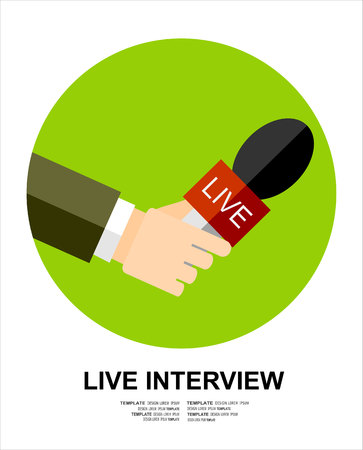 hand beats: Hand holding a microphone. journalims concept. vector illustration in flat icon design on green background