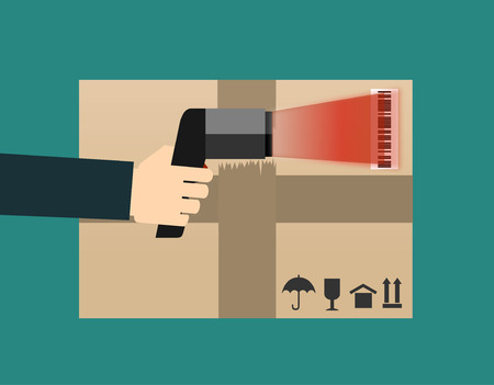 barcode scan: Operator hand holds scanner doing scan of a box with barcode. Flat vector scanner illustration of barcode scan process.