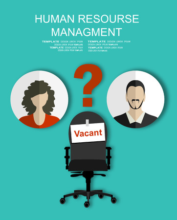 recruiting: Human resources recruiting planning job business concept with office chair abstract flat vector illustration