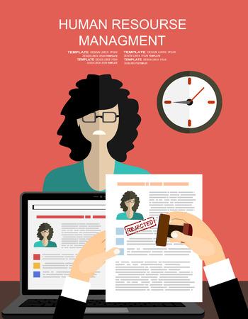 Hand holding resume and stamp with rejected. A sad woman is not got a job. Human resources management concept, searching professional staff, analyzing resume papers, work. illustration in flat design Zdjęcie Seryjne - 60711518