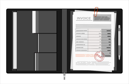 bill payment: Invoice sheet, bill and pen. Flat style illustration, invoice payment concept Illustration