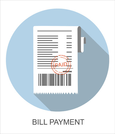 medical bills: Vector illustration paying bills concept. Payment of utility, bank, restaurant and other bills. Giving or receiving bill. Bill with red rubber stamp paid.