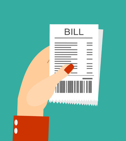 medical bill: Paying bills, women hand holding bills vector