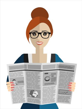 Businesswomen reader Newspapers. Flat design style.