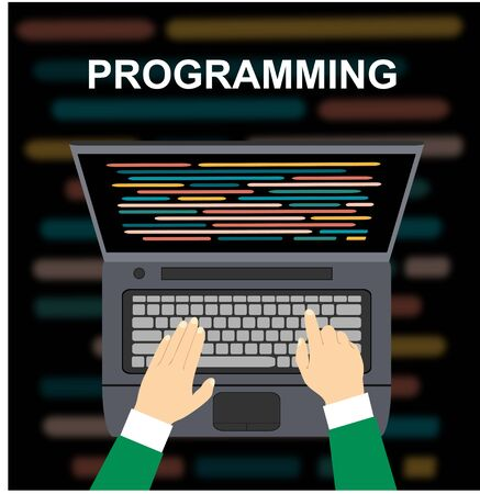Programming and coding. Programmer for the laptop while workingVector illustration.