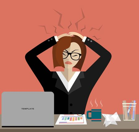 Stress at work concept flat illustration. Stressed out women in suit with glasses, in office at the desk. Modern design for web banners, web sites, printed materials, infographics. Flat vector. Vettoriali