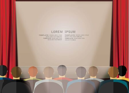 Sitting people and big empty screen. Cinema, business video presentation, corporate training concepts. Flat design vector illustration
