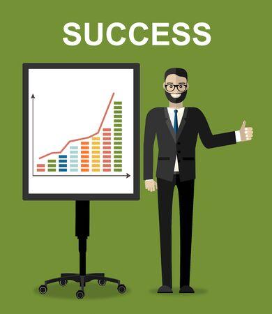 Ensemble de concepts d'illustration plate de succès financier. Situations commerciales. Concepts de design plat pour les bannières Web, les sites Web, les documents imprimés, les infographies. Illustration vectorielle créative Vecteurs