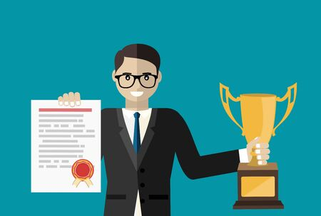 Professional certification, business education concepts. Happy man in suit with diploma and gold cup. Flat design vector illustration 向量圖像