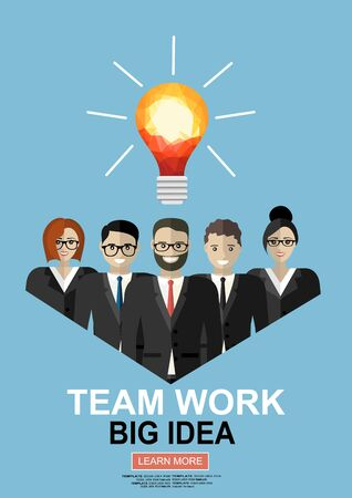Successful teamwork flat illustration concepts set. Modern flat design concepts for web banners, web sites, printed materials, infographics. Creative flat illustration