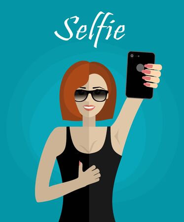 Happy young woman making selfie and showing thumb up. Modern flat design