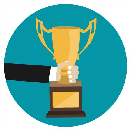 Male hand holding winners cup. Winner trophy awards. Trophy cup flat icon. Winner cup vector illustration.