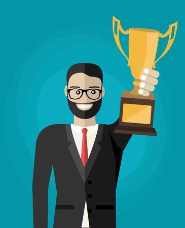 Business man hold Cup. Vector illustration flat design.