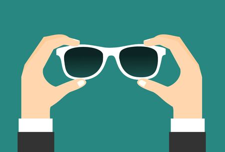 Two hands holds a sunglasses. Vector illustration flat design