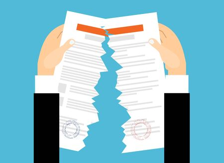 Geschäftsmannhände, die Vertrag auseinander reißen. Vertragsbeendigung Konzept. Vektorillustration im flachen Design