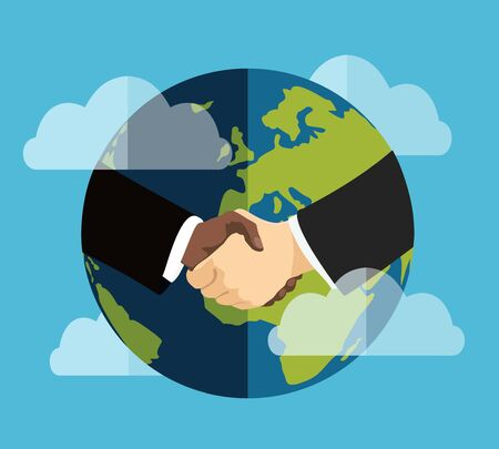 Handshake and planet Earth. World peace, global agreement, international partnership, worldwide business concepts. Flat design graphics for website, web banners, printed materials. Vector illustration