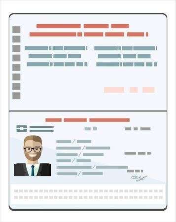 Passeport avec données biométriques. Illustration vectorielle plane de document d'identification