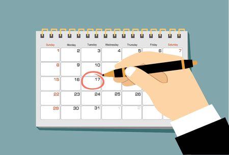 Czerwone koło. Zaznacz w kalendarzu o 17. Ilustracja wektorowa płaski kalendarz