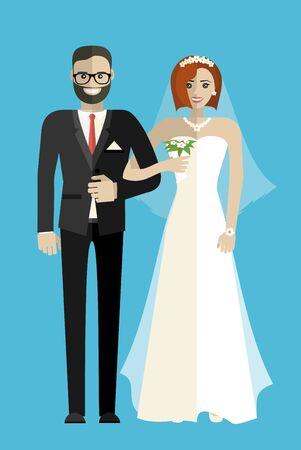 Hochzeitspaar Vektor-Illustration.