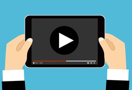 Manos sosteniendo tableta con reproductor de video en pantalla. Vector ilustración plana. Ilustración de vector
