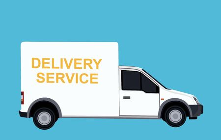Concept of the delivery service. Illustration of truck fast shipping. Flat vector. Vecteurs