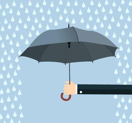 Hand of man holding an umbrella under rain. Flat design vector illustration