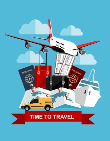 Travel and tourism concept. Air tickets, passports and travel suitcase, world map, civilian plane, car and ship. Tourism and planning, vector illustration. Travel Concept.