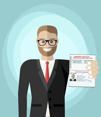 Businessman Hold Travel Identification Document Flat Vector Illustration
