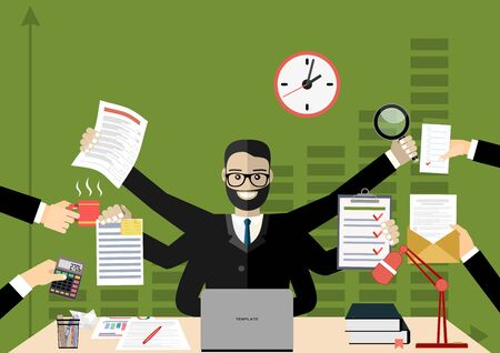 Business man surrounded by hands with office things. Multitasking and time management concept. Vector flat design illustration. Square layout.