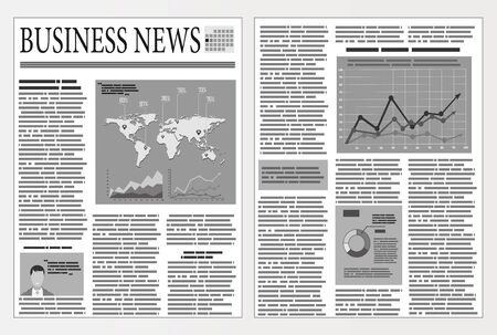 Graphical design newspaper template with infographic