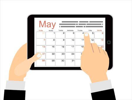 empresario de dibujos animados hace clic en la aplicación de calendario del día en una tableta. Fondo de vista superior del escritorio de oficina con taza de café, bolígrafo, notas. ilustración vectorial en diseño plano