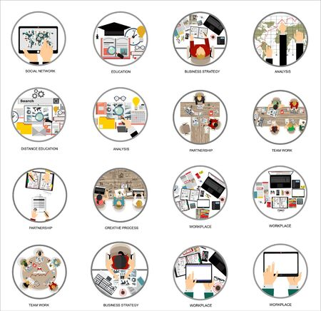Vector set flat web icons on the following themes - business and finance, education and knowledge, technology and hardware, money, architecture design, social network, creative process Vektorové ilustrace