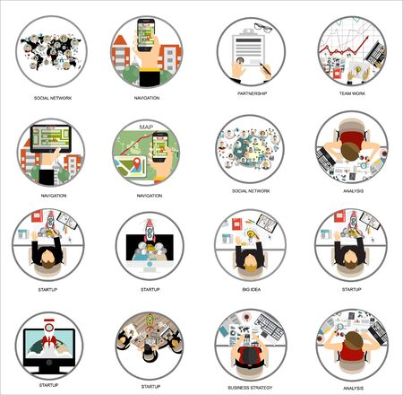 Vector set flat web icons on the following themes - business and finance, education and knowledge, technology and hardware, money, architecture design, social network, creative process