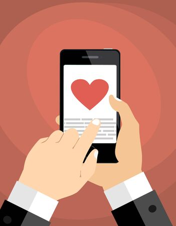 Heart on smartphone screen. Hand hold smartphone, finger touch sign in button. Modern concept for web banners, web sites Vektoros illusztráció